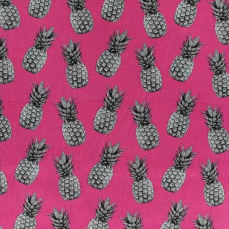 Poppy cotton fabric Pineapple proof - fuchsia x 10cm