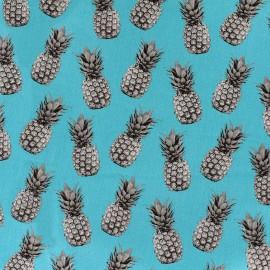Poppy cotton fabric Pineapple proof - turquoise x 10cm
