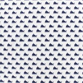 Tissu Poppy Marine - blanc x 10cm