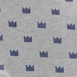 Tissu jersey Couronne Glitter - marine x 10cm