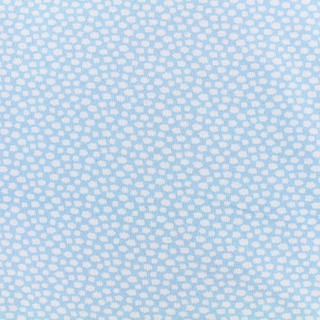 Poppy jersey fabric  little clouds - light blue x 10cm