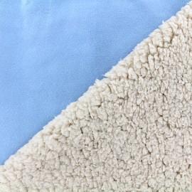 Fourrure mouton réversible aspect suédine Soft - bleu clair x 10cm
