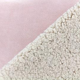 Fourrure mouton réversible aspect suédine Soft - rose x 10cm