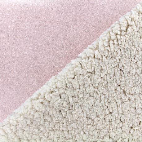 Fur fabric double face sheep and Suede Soft - pink x 10cm