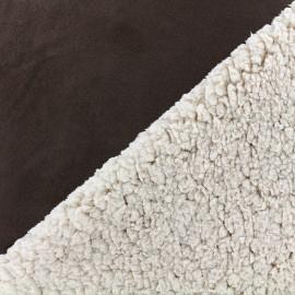 Fourrure mouton réversible aspect suédine Soft - marron x 10cm