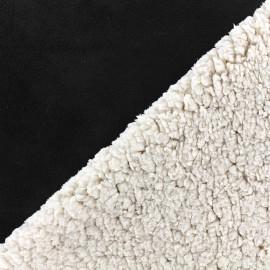 Fourrure mouton réversible aspect suédine Soft - noir x 10cm