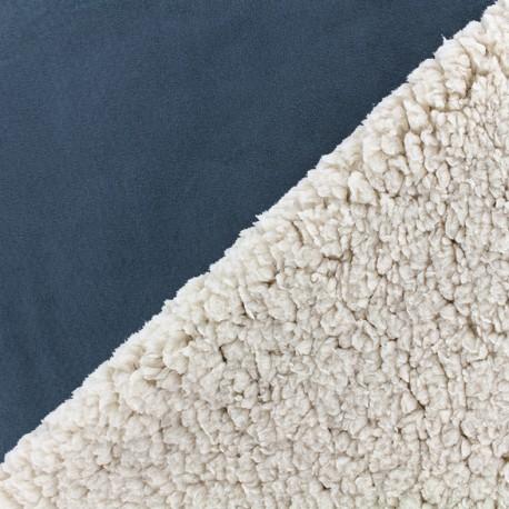 Fourrure mouton réversible aspect suédine Soft - bleu marine x 10cm
