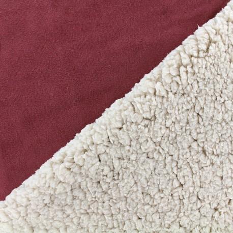 Fourrure mouton réversible aspect suédine Soft - lie de vin x 10cm