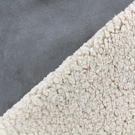 Fourrure mouton réversible aspect suédine Soft - bleu gris x 10cm