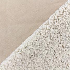 Fourrure mouton réversible aspect suédine Soft - beige x 10cm