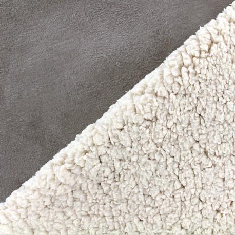 Fourrure mouton réversible aspect suédine Soft - taupe x 10cm