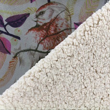 Fourrure mouton réversible aspect suédine Birds - gris x 10cm
