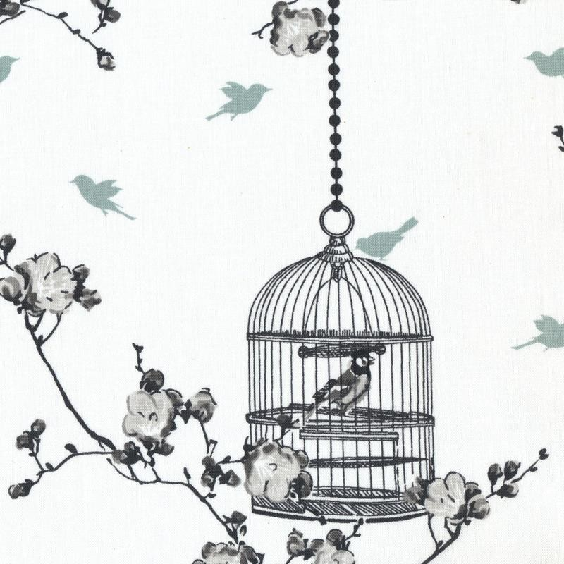 Cotton fabric birdcage charcoal ice green x 30cm ma for Au maison fabric
