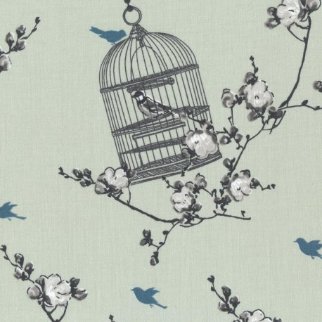 Cotton fabric birdcage verte x 30cm ma petite mercerie for Au maison fabric