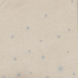 Tissu coton enduit mat X-mas Star - silver/toffee x 10cm