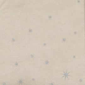 Tissu Oeko-Tex coton enduit mat X-mas Star - silver/toffee x 10cm