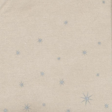 Coated cotton fabric mat X-mas Star - silver/toffee x 10cm