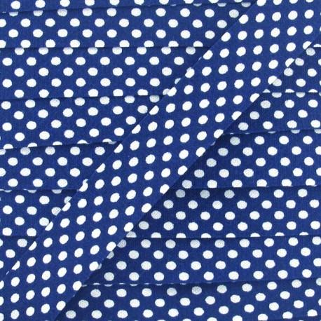 Biais coton à pois 18mm blanc/navy x 1m