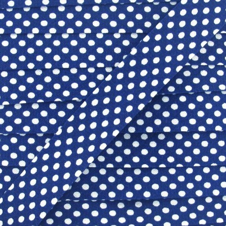 Cotton bias binding, with white polka dots - blue navy x 1m