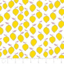 Tissu Camelot Fabrics Lemon - white x 10cm