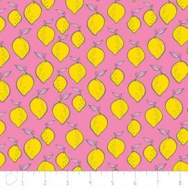 Camelot Fabrics Flower Lemon - pink x 10cm