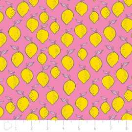 Tissu Camelot Fabrics Lemon - pink x 10cm