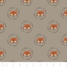 Tissu Camelot Fabrics Wilderness fox - taupe x 10cm