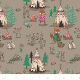 Tissu Camelot Fabrics Campsite - light taupe x 20cm
