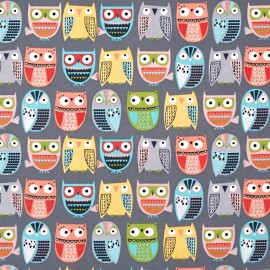 Fabric Timeless Treasures Owls in rows - grey x 12cm