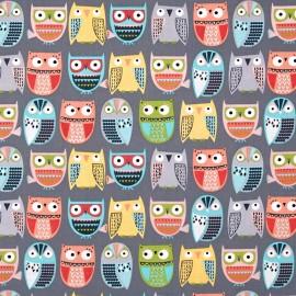 Tissu Timeless Treasures Owls in rows - grey x 12cm