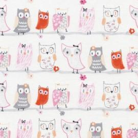 Tissu Timeless Treasures Pastel Owls Flannel - white x 10cm