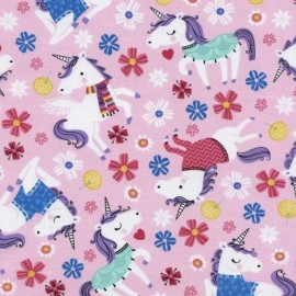 Tissu Timeless Treasures Pink dressed unicorns - pink x 29cm