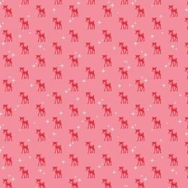 Tissu coton Cozy Christmas Reindeer - pink  x 10cm