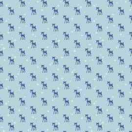 Tissu coton Cozy Christmas Reindeer - blue  x 10cm