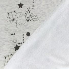 Tissu sweat envers minkee Cheyenne - crème chiné x 25cm