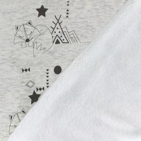 Tissu sweat envers minkee Cheyenne - crème chiné x 27m