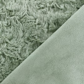 Fur fabric double sided Suede - sauge green x 10cm