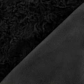 Fur fabric double sided Suede - noir x 10cm