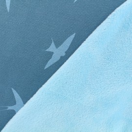 Tissu sweat envers minkee Hirondelle - pétrole/azur x 10cm