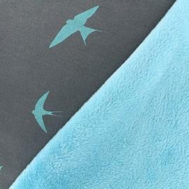 Tissu sweat envers minkee Hirondelle - gris/azur x 10cm