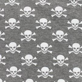 Tissu jersey Skull-Tastic - gris chiné x 10cm