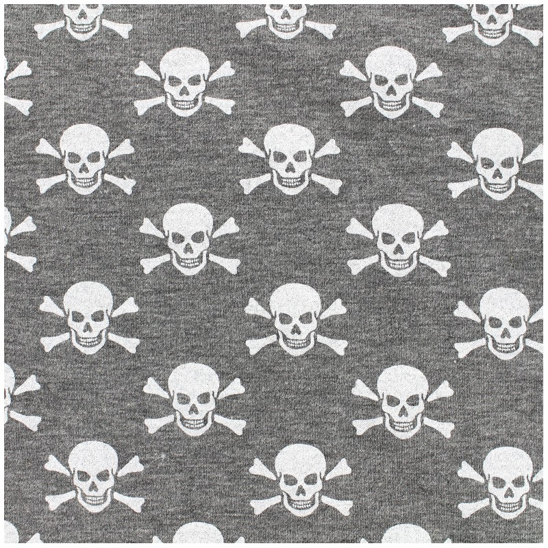 tissu sweat l ger poppy skull tastic gris chin. Black Bedroom Furniture Sets. Home Design Ideas