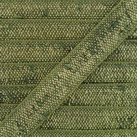 Ruban Galon lin lurex - vert/doré x 1m
