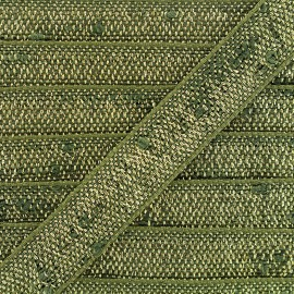 Trimming ribbon linen lurex - green/gold x 1m