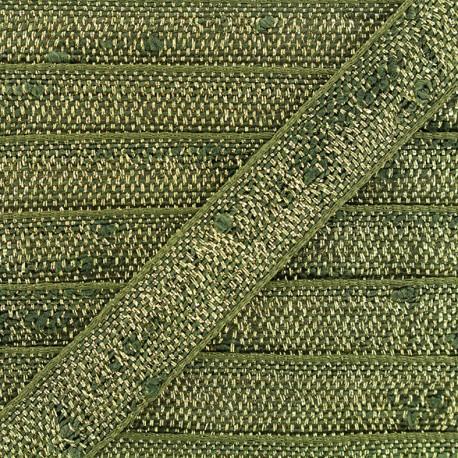 Trimming ribbon Glitter lurex - green/gold x 1m