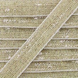 Trimming ribbon linen lurex - linen/gold x 1m