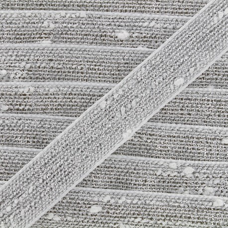 Trimming ribbon Glitter lurex - white/silvery x 1m