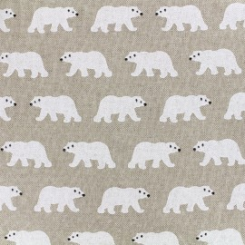 Tissu toile coton - Ours blanc x 16cm