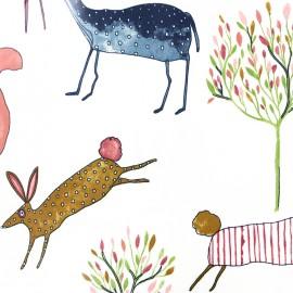 Tissu coton enduit vernis Oh my deer - berry x 32cm