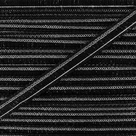 Ruban Galon lurex 15 mm - noir/argent x 1m
